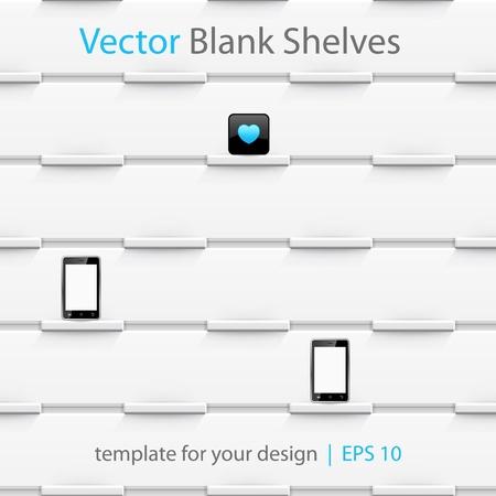 White vector shelves, template for your design. Seamless pattern. Eps10. Stock Vector - 14445083