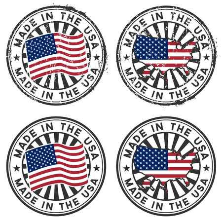 Stamp with map, flag of the USA  Made in the USA