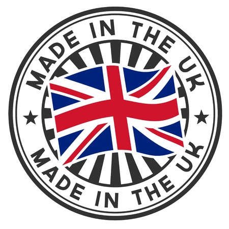 made in: Stamp with flag of the UK  Made in the UK  Illustration