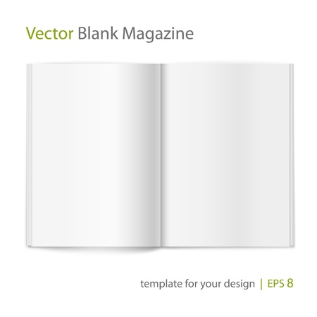 open diary: Vector blank magazine on white background  Template for design