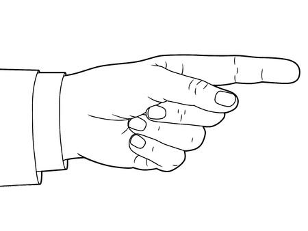flecha derecha: Muestra de la mano con el dedo apuntando