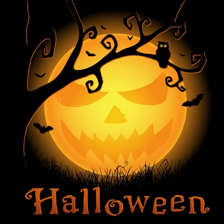 Halloween background with scary moon, bats and owl Vector