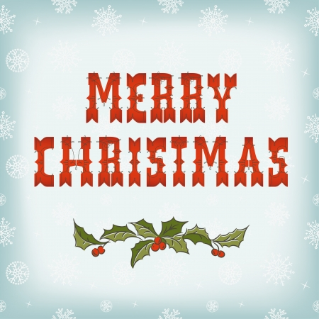 Christmas card on snow pattern  Merry Christmas lettering Vector