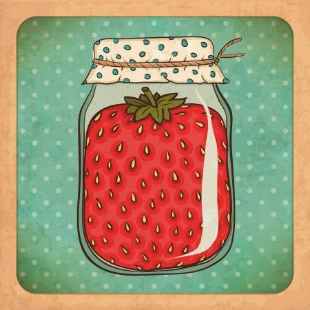 jam jar: Strawberry jam   Vintage cardboard