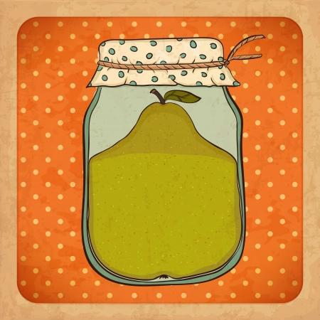 poires: Confiture de poire grunge carton Vintage