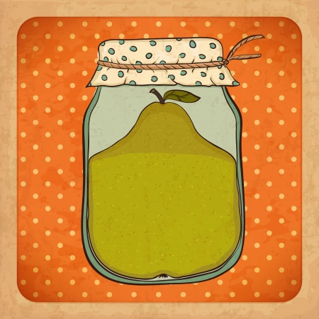 canned fruit: Pear jam   Vintage grunge cardboard