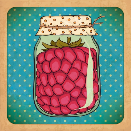 canned food: Raspberry jam  Vintage grunge cardboard
