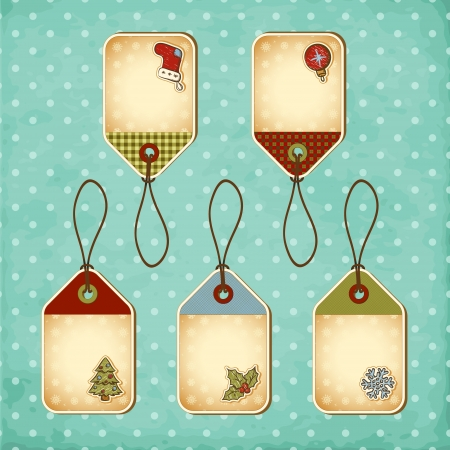 Vintage Christmas tags set Stock Vector - 16418523