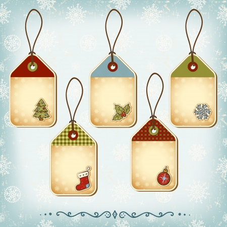 Vintage Christmas tags set. Seamless pattern background