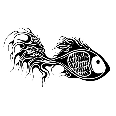 fish tattoo illustration Vector