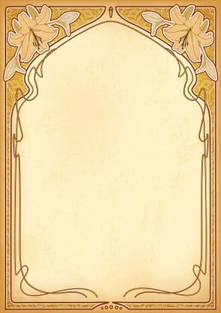 art nouveau: Art nouveau frame con spazio per il testo su carta antica Vettoriali