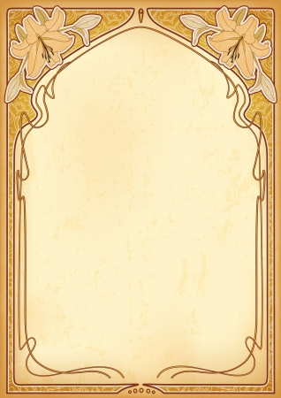 Art nouveau frames with space for text on old paper Vector