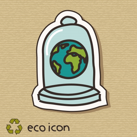 Ecology concept illustration on brown cardboard  Protect the Earth Vector