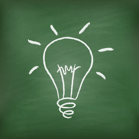 light bulb drawn on a chalkboard, symbolizing ideas and creativity Vector
