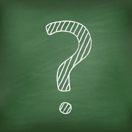 Question mark on green chalkboard  Realistic