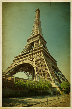 Eiffel tower, Paris  Vintage grunge photo  Paper texture