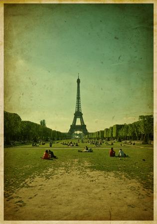 Eiffel tower, Paris  Vintage grunge Stock Photo