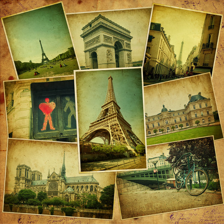 Vintage travel background with old photos of Paris  photo