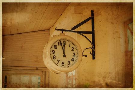 Vintage analog street clock. Old grunge photography photo