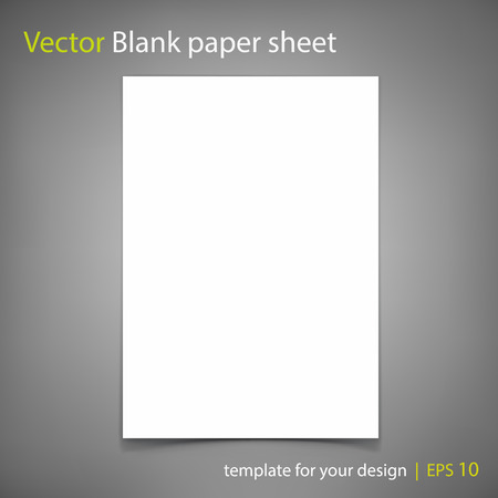 a4: Vector white blank paper A4 sheet on grey Template for your design Illustration