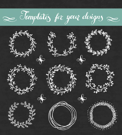 Vector hand drawn set of floral wreathes on blackboard.