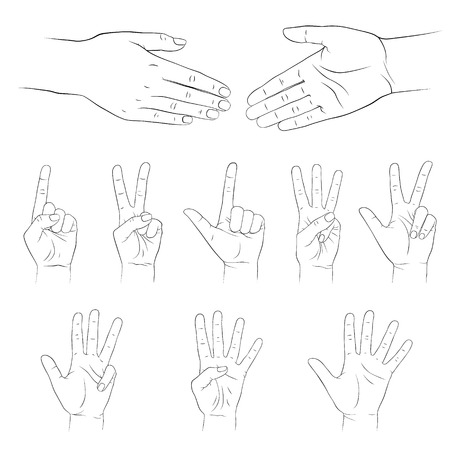 3 4: Hands  Vector set  Isolated on white background