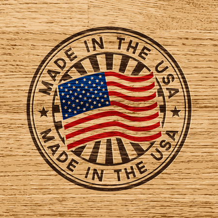 us grunge flag: Made in the USA  Stamp on wooden background