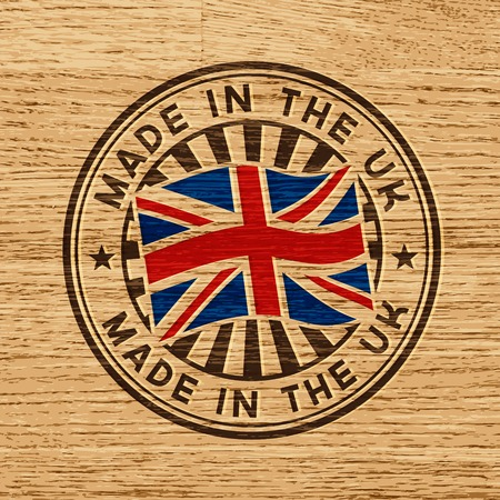 Made in the UK  Stamp on wooden background