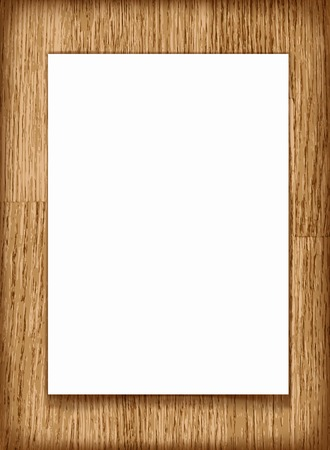 a4: Vector blank paper A4 sheet on wooden background