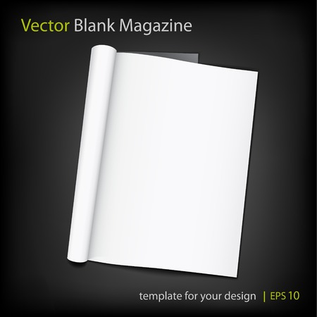Vector blank page of magazine on black background. Illustration