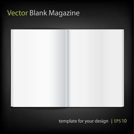 Blank magazine on black background. Template Vector