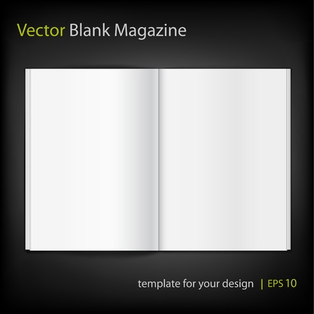 double page spread: Blank magazine on black background. Template