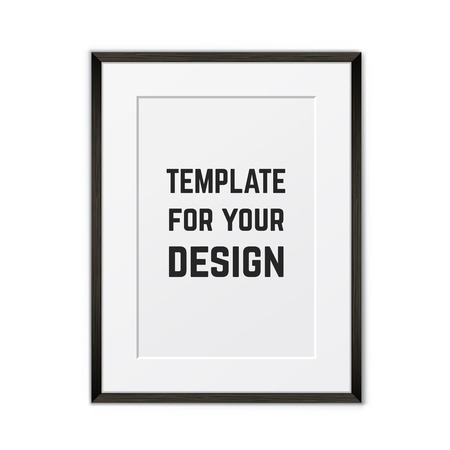 Blank framed poster on a wall. Vector template Illustration