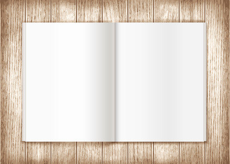 wooden insert: Blank magazine on wooden background. Template