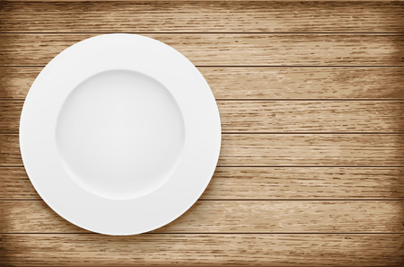 wooden board: Empty plate on wooden table. Vector illustration