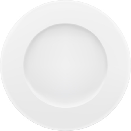 Empty white plate. Vector isolated on white.