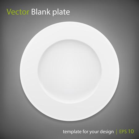 white plate: Empty white plate on grey bakcground. Vector   Illustration