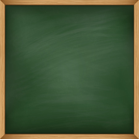Empty green chalkboard with wooden frame. Using mash Illustration