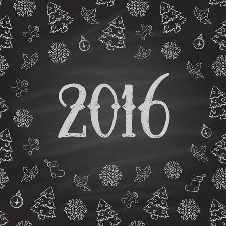 Christmas or New Year Chalkboard design. 2016 矢量图像