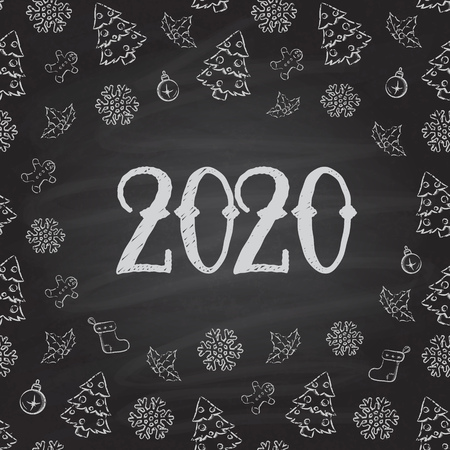 Christmas or New Year Chalkboard design. 2020