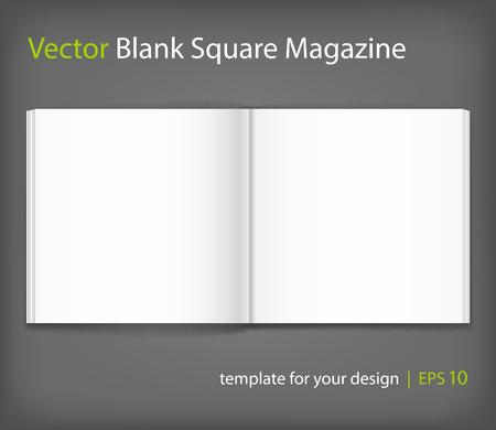 Vector blank of open magazine on grey background. 矢量图像