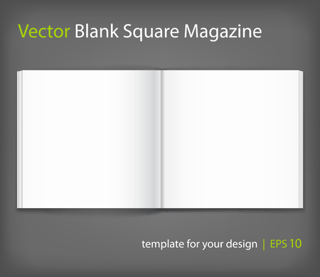 open magazine: Vector blank of open magazine on grey background. Illustration