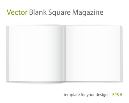 Vector blank of open magazine on white background.