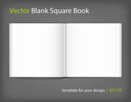blanco del vector del libro hardcovered abierto sobre fondo gris neutro. formato cuadrado. El uso de la malla. Modelo