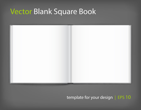 Vector blank of open hardcovered book on neutral grey background. Square format. Using mesh. Template
