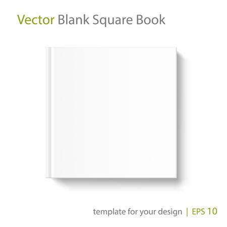 Burlarse de la cubierta de libro cuadrado sobre fondo blanco. Modelo del vector para su diseño.