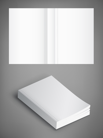 Realistic vector blank of paperback cover book. Template for your design. Grayscale Mockup. 矢量图像