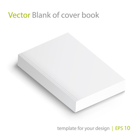 Realistic  blank of paperback cover book. Template for your design. Grayscale Mockup on white.