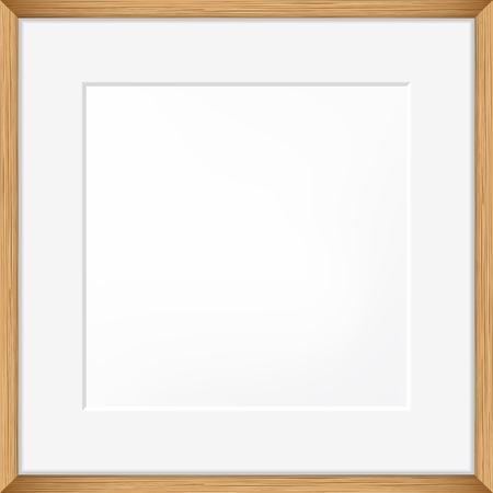 pictureframe: Square Blank picture frame template. Realistic wooden frame