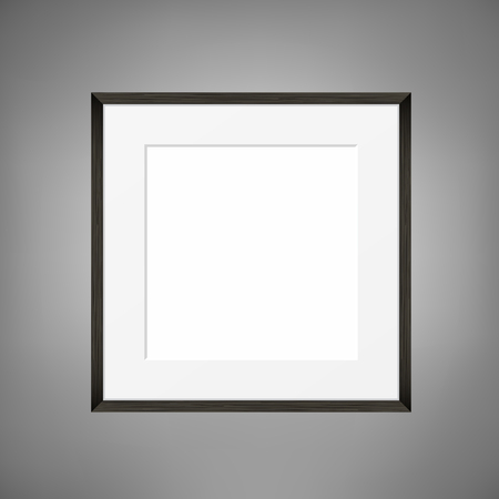 pictureframe: Square Blank picture frame template on grey wall. Realistic black frame